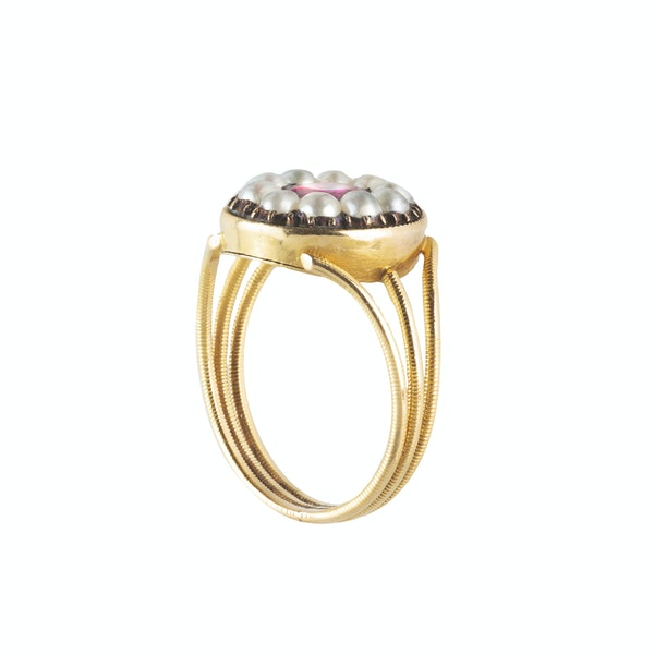 A Gold Ruby and Pearl Ring - image 2