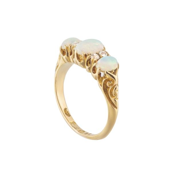 A Three Opal Diamond Ring - image 2