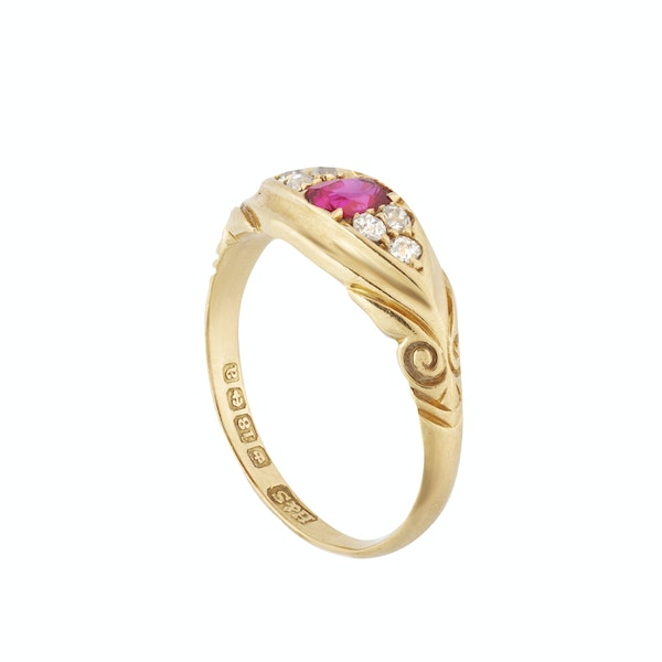 A Ruby Diamond Gold Ring - image 2