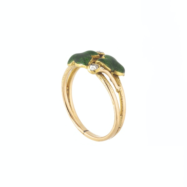 A Green Enamel Ivy and Diamond Ring - image 2