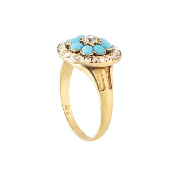 A Turquoise and Diamond Gold Ring - image 2