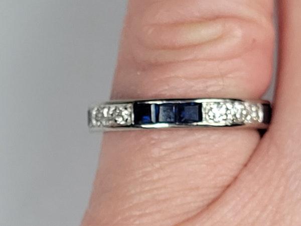 Art deco sapphire and diamond eternity ring sku 4873  DBGEMS - image 3