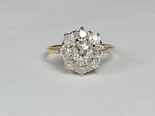 Antique diamond cluster engagement ring sku 4874  DBGEMS - image 2