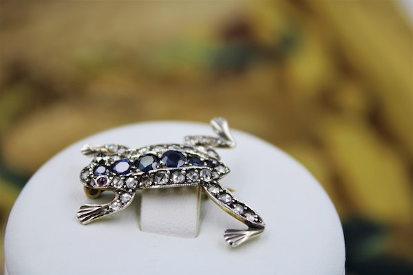 An exquisite Jumping Frog Brooch set with Diamonds and Sapphires in High Carat Yellow Gold & Platinum, Circa 1910 - image 1