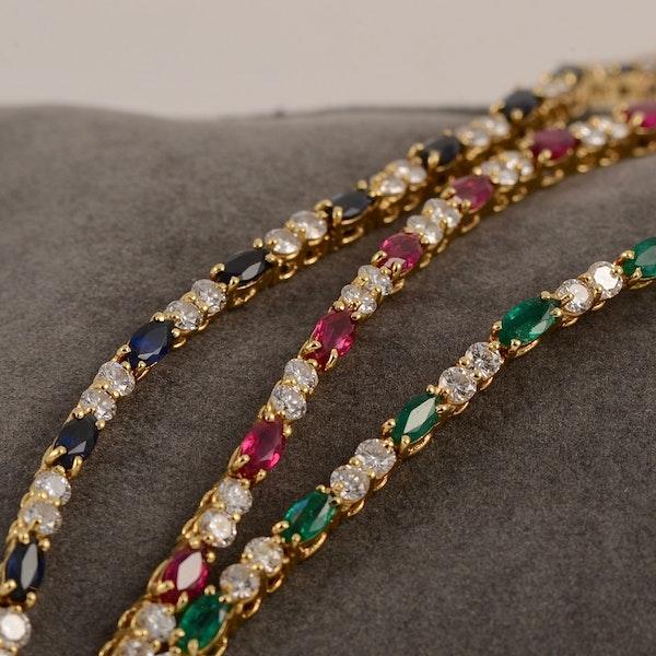Ruby, Sapphire ,Emerald and Diamond 3 Bracelets in 18ct Gold date circa 1970, SHAPIRO & Co since1979 - image 6
