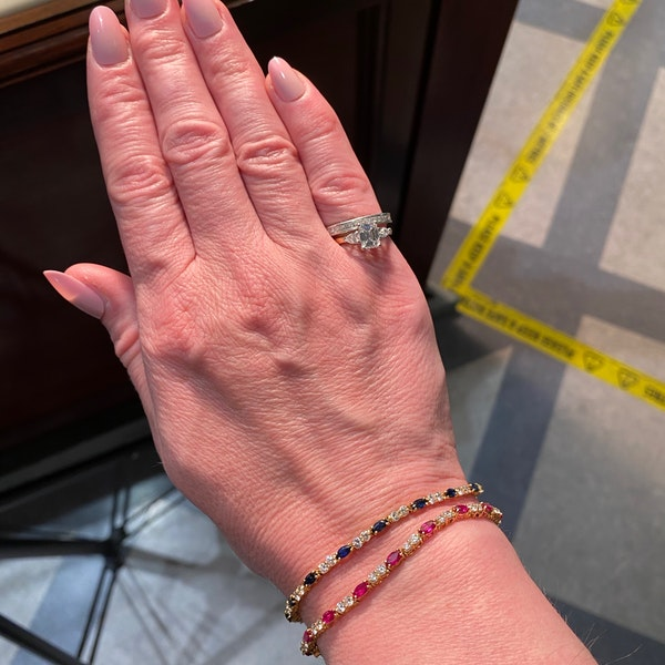 Ruby, Sapphire ,Emerald and Diamond 3 Bracelets in 18ct Gold date circa 1970, SHAPIRO & Co since1979 - image 11