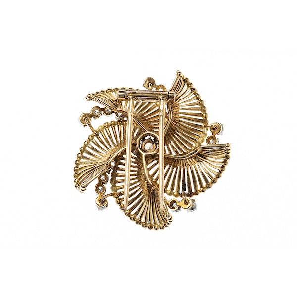 Vintage Gold & Diamond Catherine Wheel Brooch, French circa 1950 - image 2