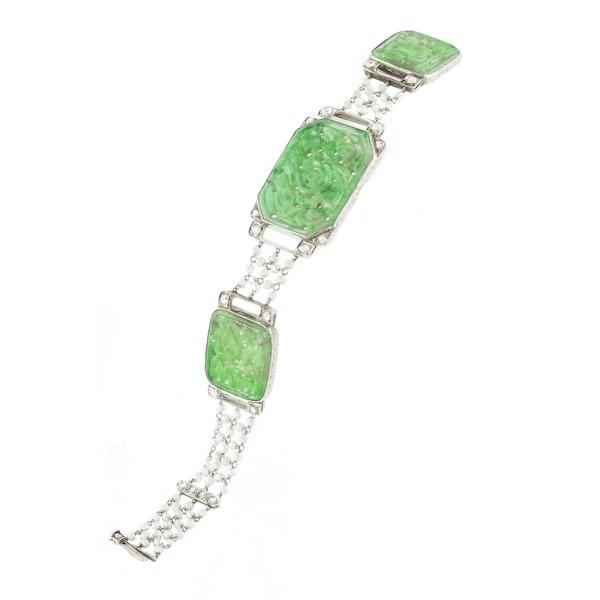 A Jade Pearl Platinum Diamond bracelet - image 2
