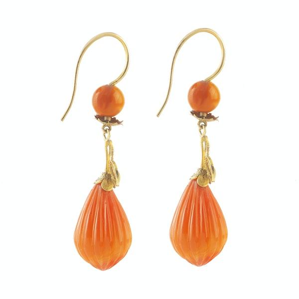 A pair of Carnelian Drop Earrings - image 2