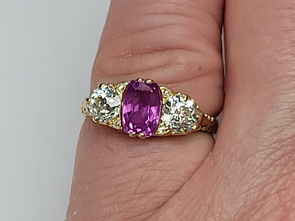 Antique hot pink sapphire and diamond ring sku 4878  DBGEMS - image 2