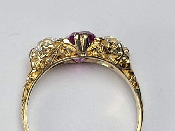 Antique hot pink sapphire and diamond ring sku 4878  DBGEMS - image 3