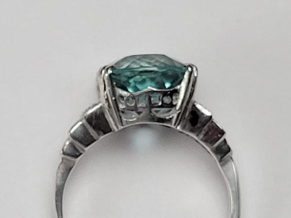 Aquamarine art deco dress ring sku 4883 DBGEMS - image 5