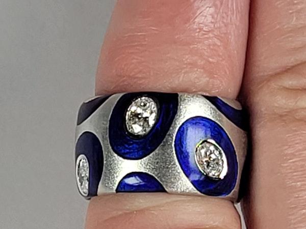 Bonkers modern enamel and diamond ring sku 4885  DBGEMS - image 2