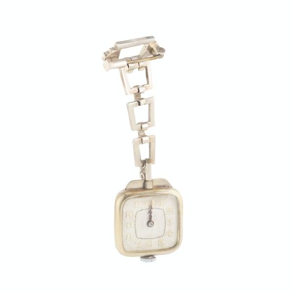 An Art Deco Silver Marcasite Enamel Watch Brooch - image 2
