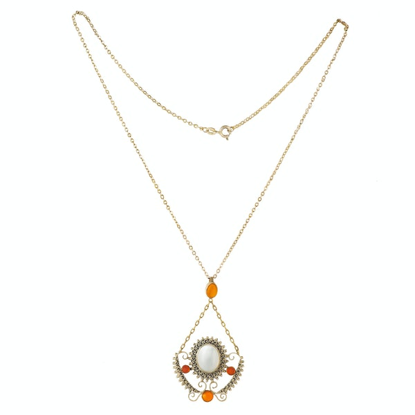 A Moonstone Fire Opal Silver Necklace - image 2