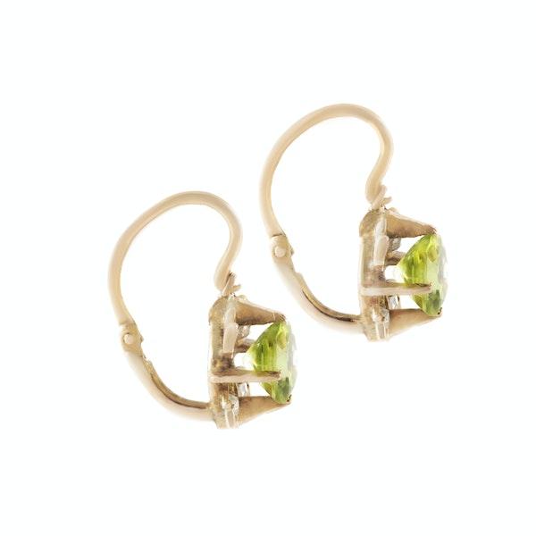 A Pair of Gold Peridot Diamond Drop Earrings - image 2