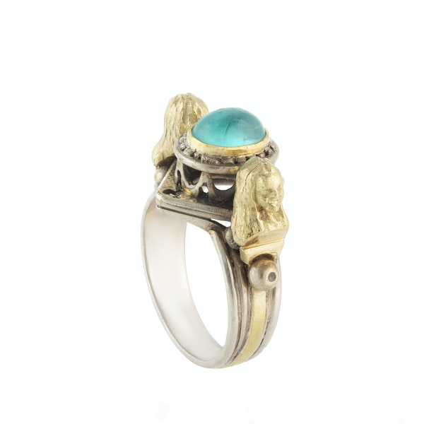 A Silver and Gold Egyptian Revival Ring - image 2