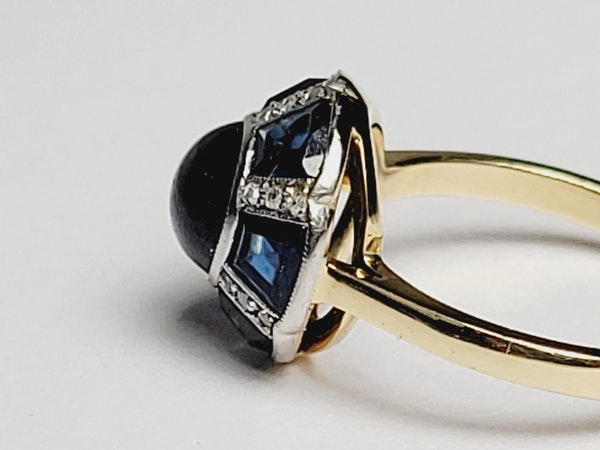 Art deco sapphire and diamond ring sku 4889 - image 3