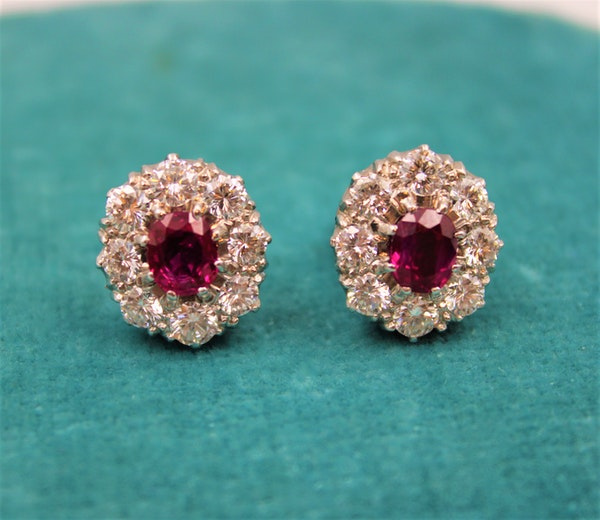 A pair of Natural Ruby and Diamond Cluster Earrings in Platinum and 18ct White Gold, Circa 1950 - image 2