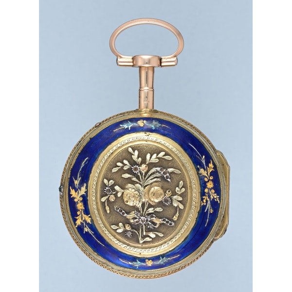 THREE COLOUR GOLD AND ENAMEL PAIR CASED SWISS VERGE - image 2