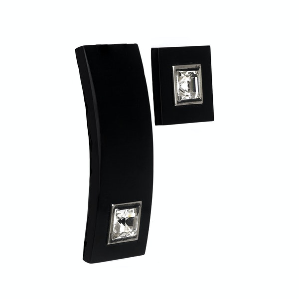 An Onyx Paste belt buckle and button - image 2