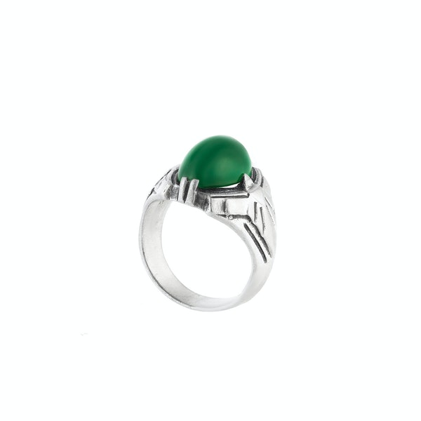 A Silver and Chrysoprase Ring by Theodor Fahrner - image 2