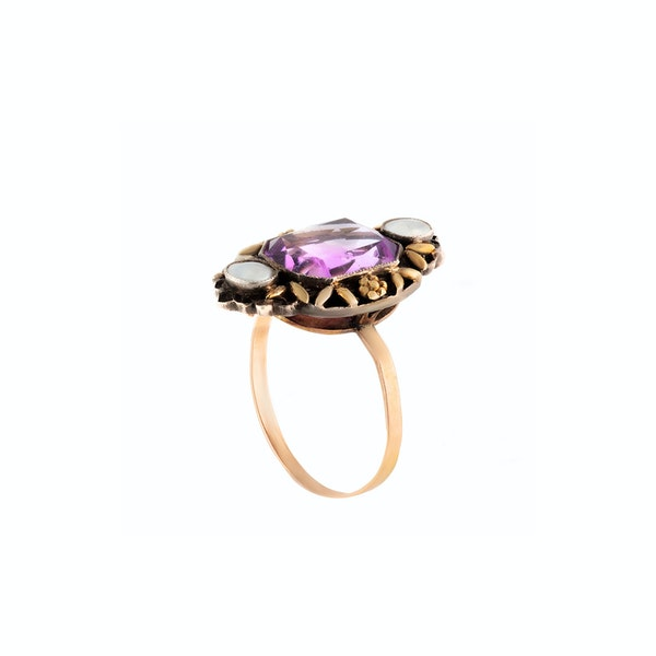 A Gold Silver Amethyst Arts & Crafts Ring by Gaskin - image 2