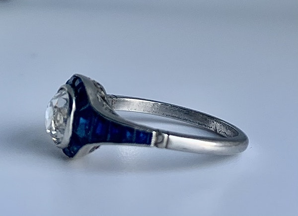 Engagement ring. Sapphire and diamond Art Deco tapered ring. Spectrum - image 3