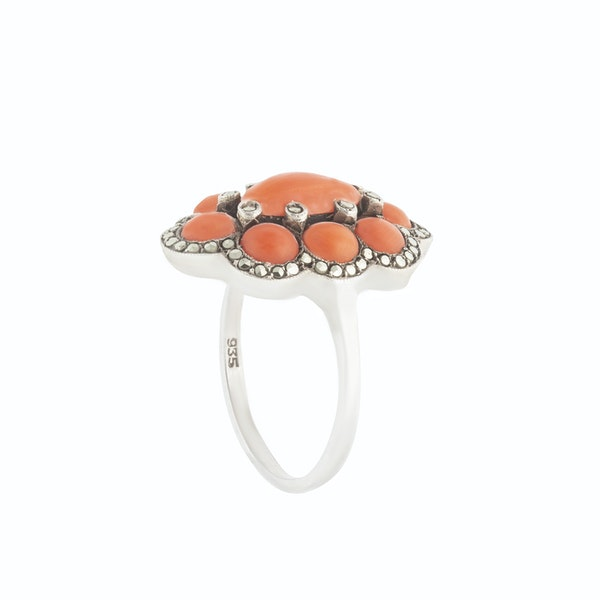 A Silver Marcasite Coral Ring - image 2