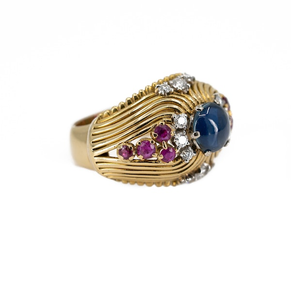 A Post War Sapphire Cocktail Ring Offered By The Gilded Lily - image 2