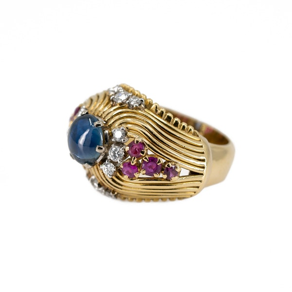 A Post War Sapphire Cocktail Ring Offered By The Gilded Lily - image 3