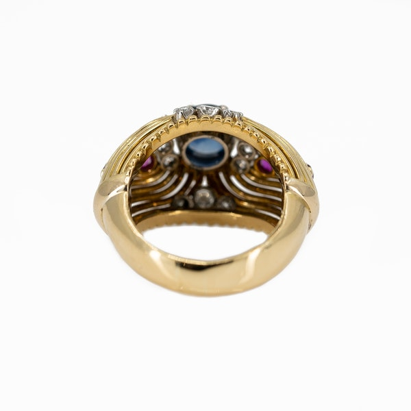 A Post War Sapphire Cocktail Ring Offered By The Gilded Lily - image 4