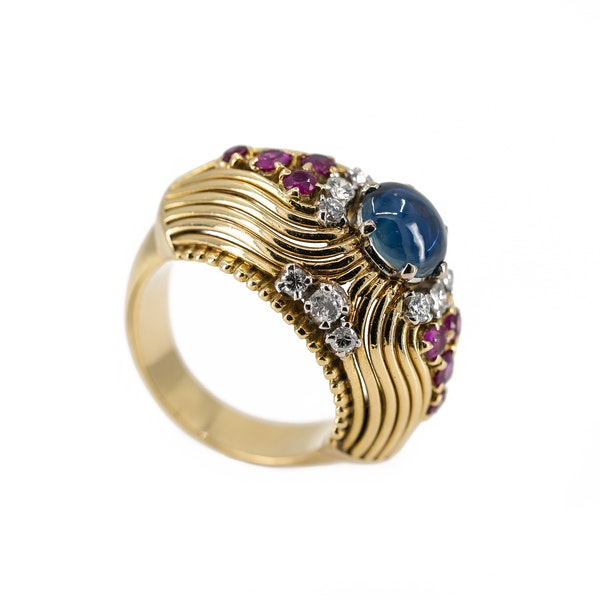 A Post War Sapphire Cocktail Ring Offered By The Gilded Lily - image 6