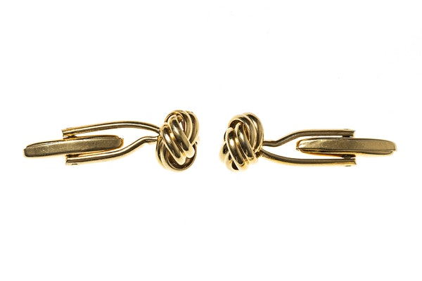 Classic Gold Knot Cufflinks with Torpedo Terminal - image 2