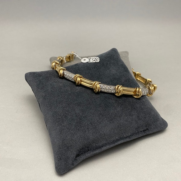 Gold Diamond Bracelet in 14ct Yellow/White Gold date circa 1980, SHAPIRO & Co since1979 - image 5