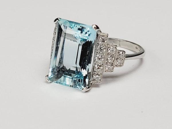 Geometric Aquamarine and diamond ring sku 4909  DBGEMS - image 2