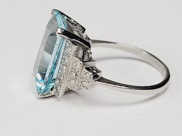 Geometric Aquamarine and diamond ring sku 4909  DBGEMS - image 3