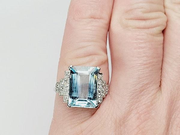 Geometric Aquamarine and diamond ring sku 4909  DBGEMS - image 6