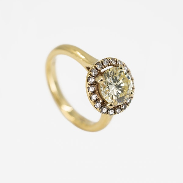 """A """"Fancy"""" Yellow Diamond Ring Offered By The Gilded Lily - image 2"""