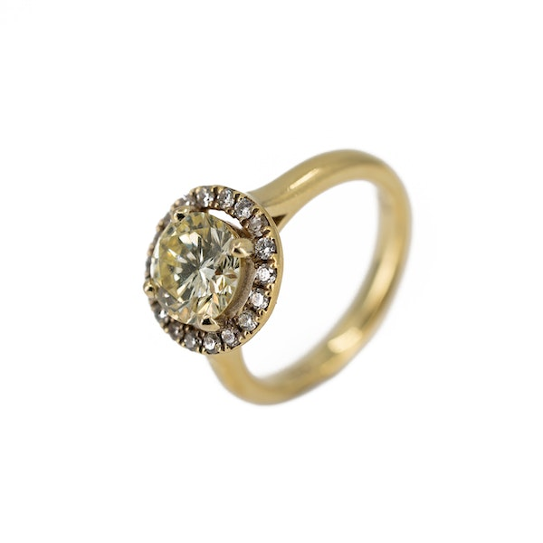 """A """"Fancy"""" Yellow Diamond Ring Offered By The Gilded Lily - image 3"""
