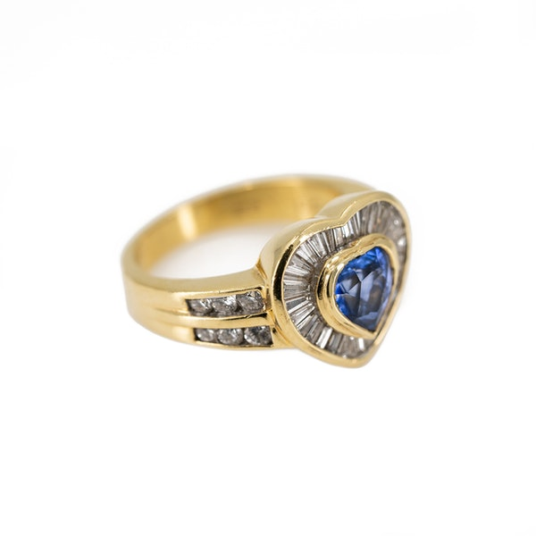 A Heart Shaped Sapphire and Diamond Ring Offered by The Gilded Lily - image 2