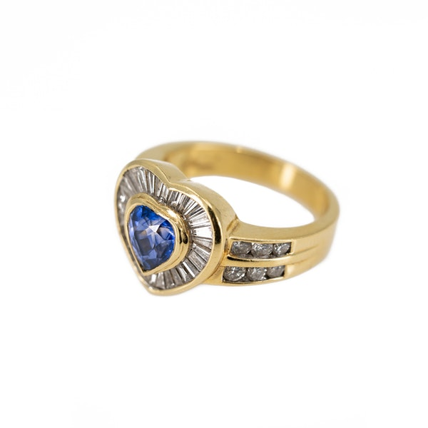 A Heart Shaped Sapphire and Diamond Ring Offered by The Gilded Lily - image 3