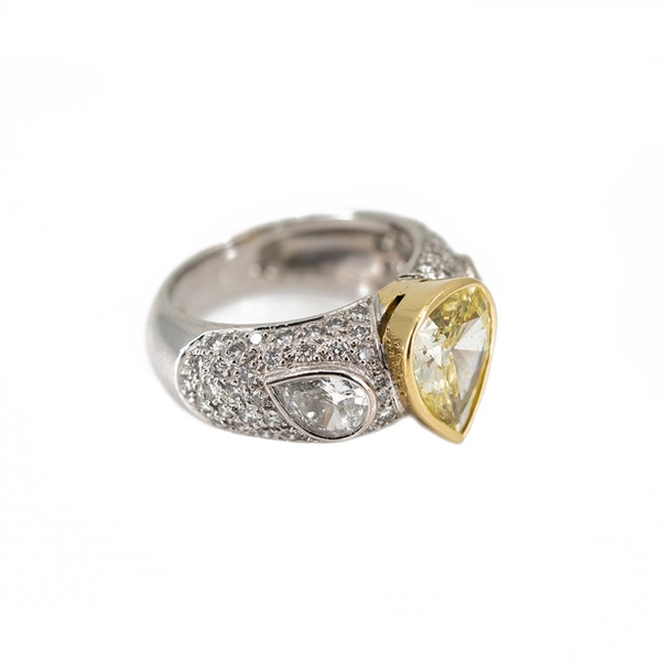"""A Dress Ring Set With A """"Fancy"""" Yellow Pear Shaped Diamond Offered By The Gilded Lily - image 2"""