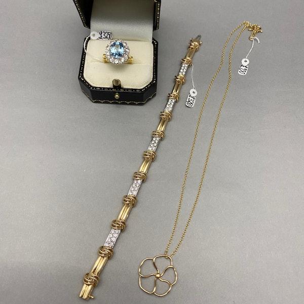 Aquamarine Diamond Cluster Ring in 18ct Yellow/White Gold date circa 1950 SHAPIRO & Co since1979 - image 10