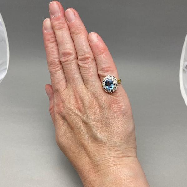 Aquamarine Diamond Cluster Ring in 18ct Yellow/White Gold date circa 1950 SHAPIRO & Co since1979 - image 2