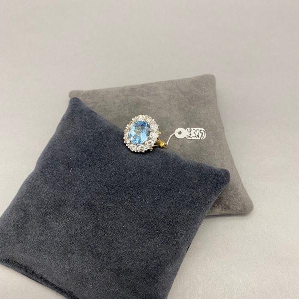 Aquamarine Diamond Cluster Ring in 18ct Yellow/White Gold date circa 1950 SHAPIRO & Co since1979 - image 13