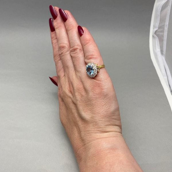 Aquamarine Diamond Cluster Ring in 18ct Yellow/White Gold date circa 1950 SHAPIRO & Co since1979 - image 4