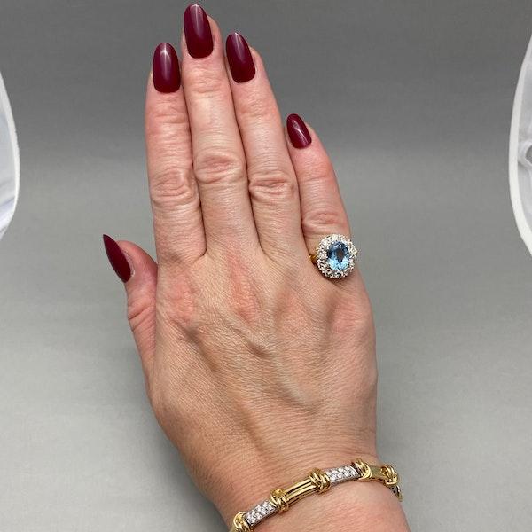 Aquamarine Diamond Cluster Ring in 18ct Yellow/White Gold date circa 1950 SHAPIRO & Co since1979 - image 11