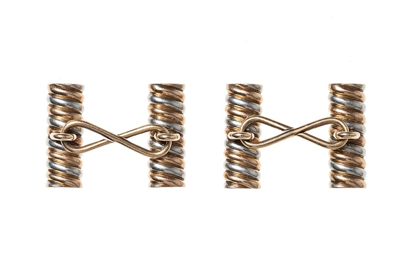 Baton Cufflinks of Spiral Design in Two Colour Gold - image 3