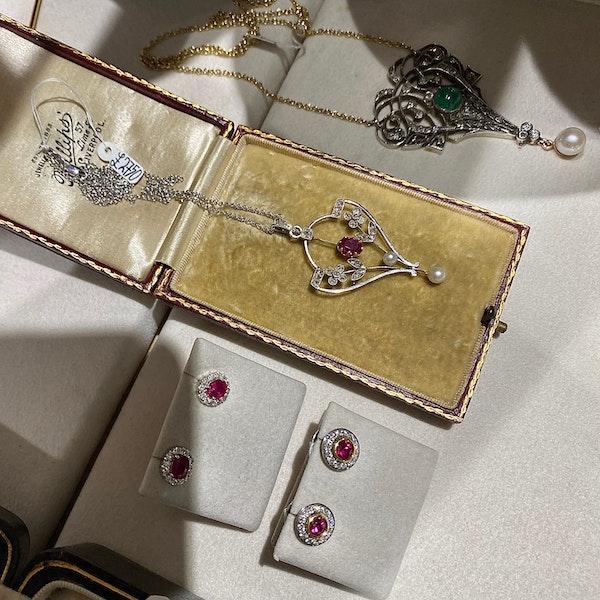 Edwardian Ruby Diamond Pearl Pendant in Platinum & 18ct Yellow Gold date circa 1900 SHAPIRO & Co since1979 - image 9